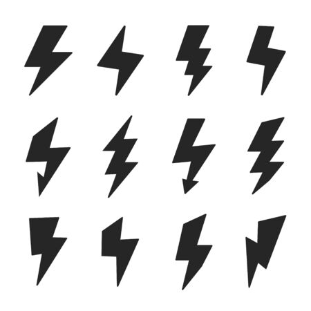 Lightning bolt icons set vector images 벡터 (일러스트)