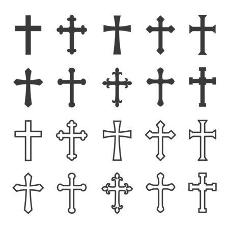 Set of christian cross vector symbol flat and outline style Vektorgrafik