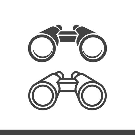 binoculars icons flat and outline style vector illustration