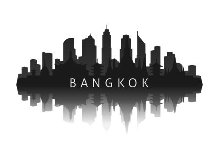 bangkok skyline silhouette in black with reflection Illustration