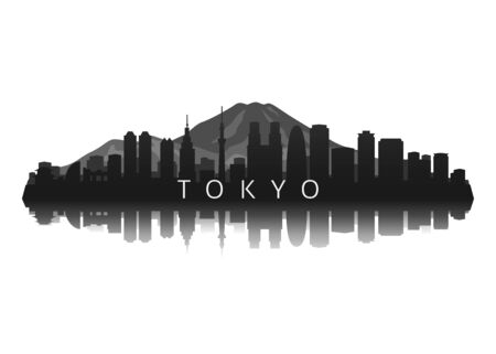 tokyo skyline silhouette in black with reflection