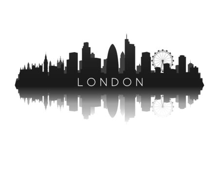 london skyline silhouette with reflection  イラスト・ベクター素材