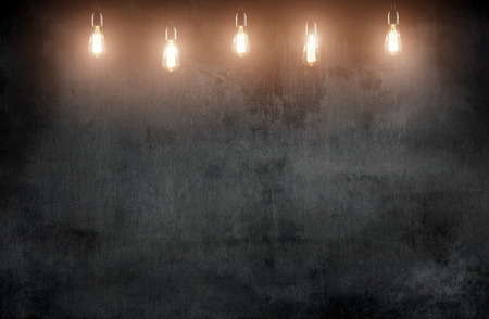 room with pendant lamps and blackboard blackground 스톡 콘텐츠