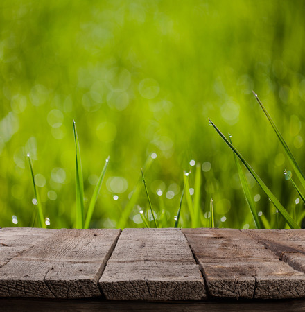 macro image of green grass background with waterdrops hanging on the leaves being backlit by the sun in the morning with wooden plank floor