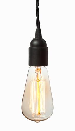 bombilla: Glowing edison bombilla amarilla. A su vez la imagen de bombilla de tungsteno sobre fondo blanco