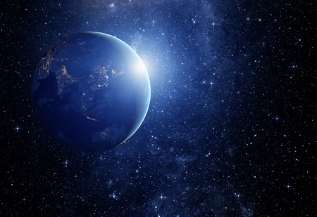 별의 이미지와 은하계의 행성.