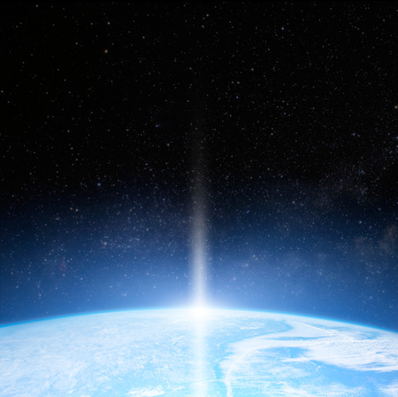 planets: Sun over Earth planet. Stock Photo