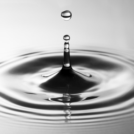 water drip: Water drop falling into water making a perfect droplet splash