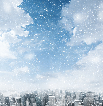 new york city panorama: Snow falling down over the city Stock Photo