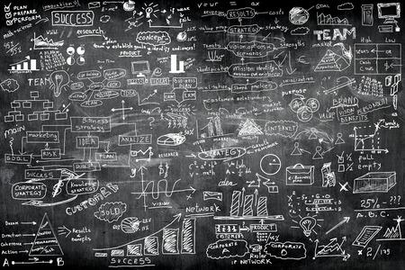 concept idée d'entreprise sur le mur tableau noir blackground