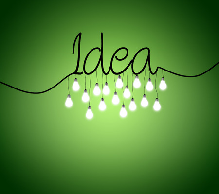 green it: Open book isolated on green background with lightbulbs over it