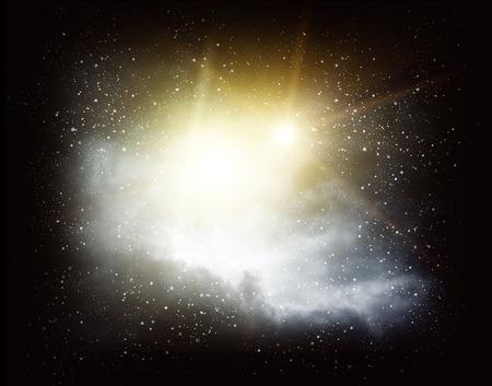 shining through: Rays of light shining through dark clouds background Stock Photo