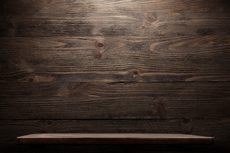 blank wall: Wood shelf grunge industrial interior Stock Photo