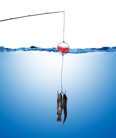 under water: fishing line and hook underwater with fish under water surface Stock Photo