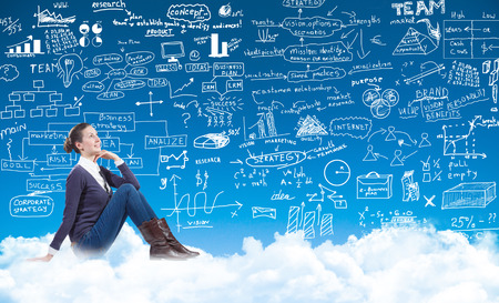 businessplan: business woman sitting on the clouds and looking at a businessplan