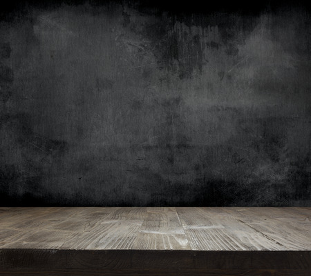 black wood texture: Blank cleaned chalkboard with wooden background