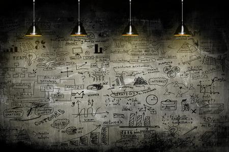 negócio: estratégia de negócios na parede com lâmpada