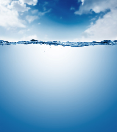 water level: water surface isolated on white background with bubbles