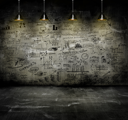 concept and ideas: business strategy on the wall with lamp