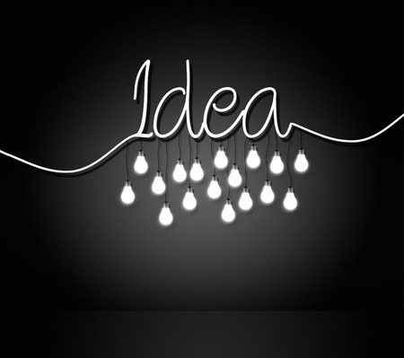 metal recycling: light bulbs hanging from a word idea. concept