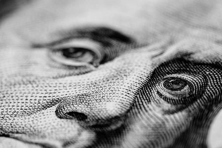 benjamin franklin: dollar bill macro Stock Photo
