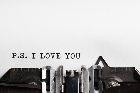 love notes: I Love You. typewriter with paper sheet. Space for your text
