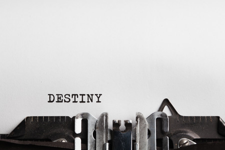 business decisions: Destiny. typewriter with paper sheet. Space for your text Stock Photo