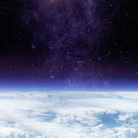 blue stars: Clouds of Earth planet and star sky on the background. Elements of this image are furnished by NASA