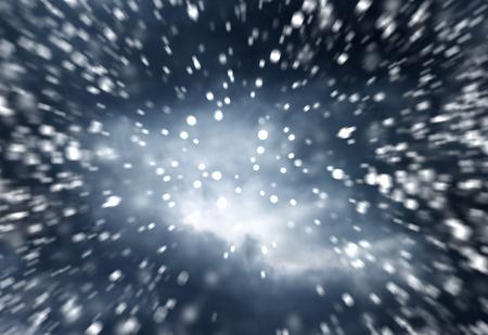 sky  dramatic: falling snow on the blue background dramatic dark sky background Stock Photo