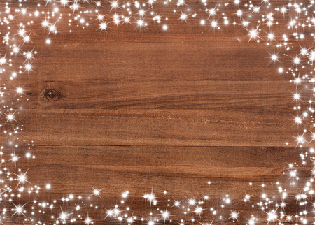 wooden board: Wooden board with snow flakes . Christmas background