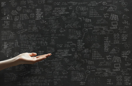 education: plan d'affaires et une main Banque d'images