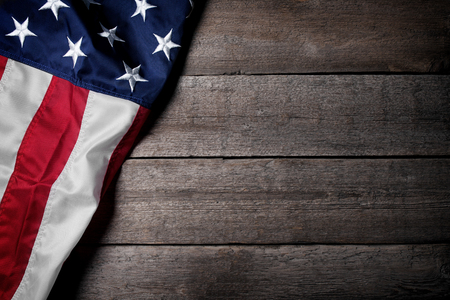 Flag of The USA on wooden background Banque d'images