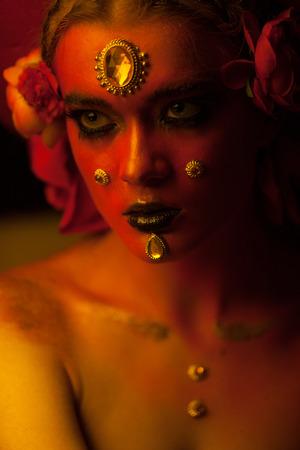 spanish woman: Beautiful spanish woman portrait with make-up, close-up Stock Photo