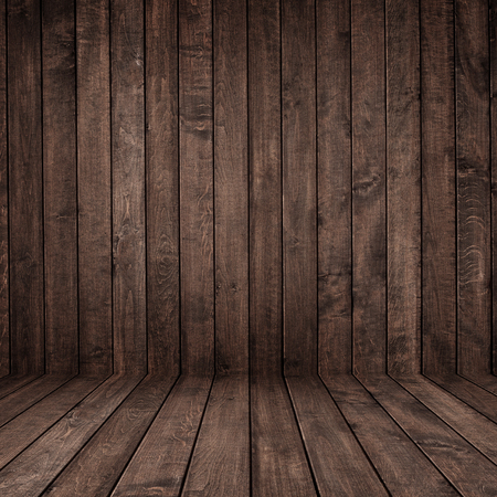 on wood floor: grunge wood panels with floor and wall