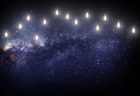 astrophotography: pink stars in the galaxy with lamps. Some elements of this image furnished by NASA Stock Photo