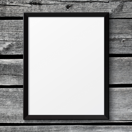 modern frame: Blank black picture poster frame on the white wooden texture
