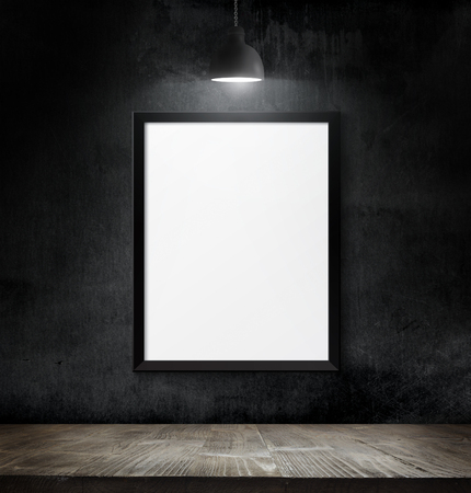 Empty poster over blackboard background with copy space Stock Photo