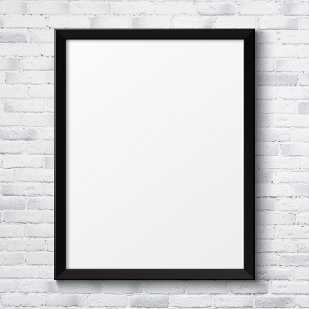 movie poster: Blank black picture poster frame on the white brick wall texture Stock Photo