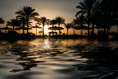 Beautiful sunset at a beach resort in tropics with palms and water Stock Photo