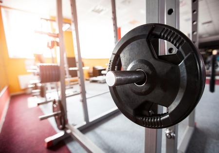 dumb bells: Dumb bells lined up in gym
