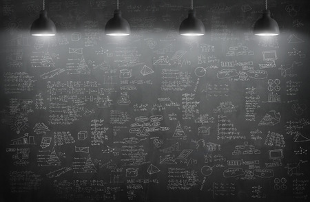 black wall: chalkboard room or blackboard texture with lamps