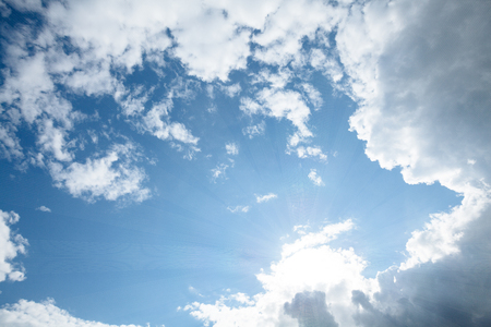 blue sky: sky with clouds and sunrays