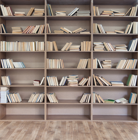 books library: Book shelf with many books