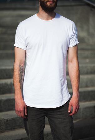 white men: Hipster wearing white blank t-shirt with space for your logo Stock Photo