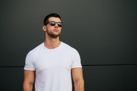 Man wearing white blank t-shirt Stock Photo