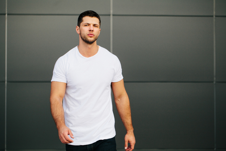 Hipster wearing white blank t-shirt