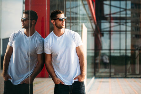 Hipster wearing white blank t-shirt