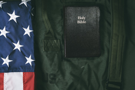 patriotism: Flag of Te USA and a Holy Bible