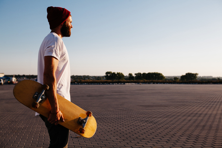 skate board: Skateborder riding in the city Stock Photo