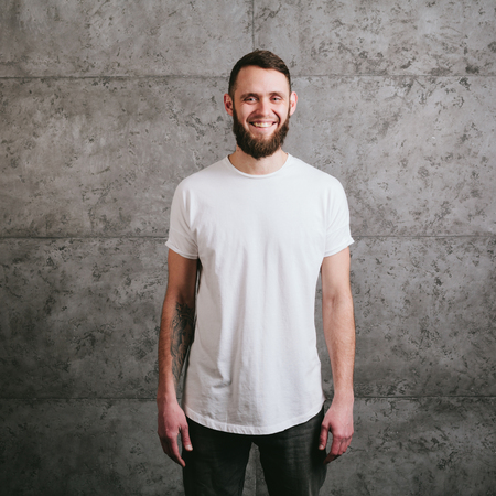 man shirt: Man wearing white blank t-shirt with space for your logo